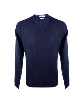 Esemplare Navy 400120 V-Neck Ribbed Knitwear