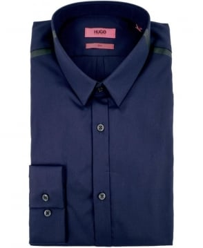 Hugo Navy 50289650 Ero3 Black Collar Shoulder Bar Shirt