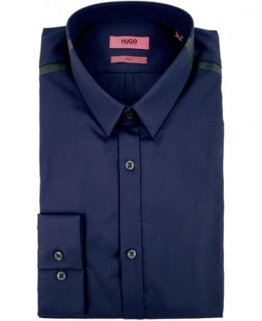 Hugo Navy 50289650 Ero3 Black Collar Shoulder Bar Shirt