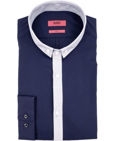 Hugo Navy 50289672 Erren Contrast Trim Shirt