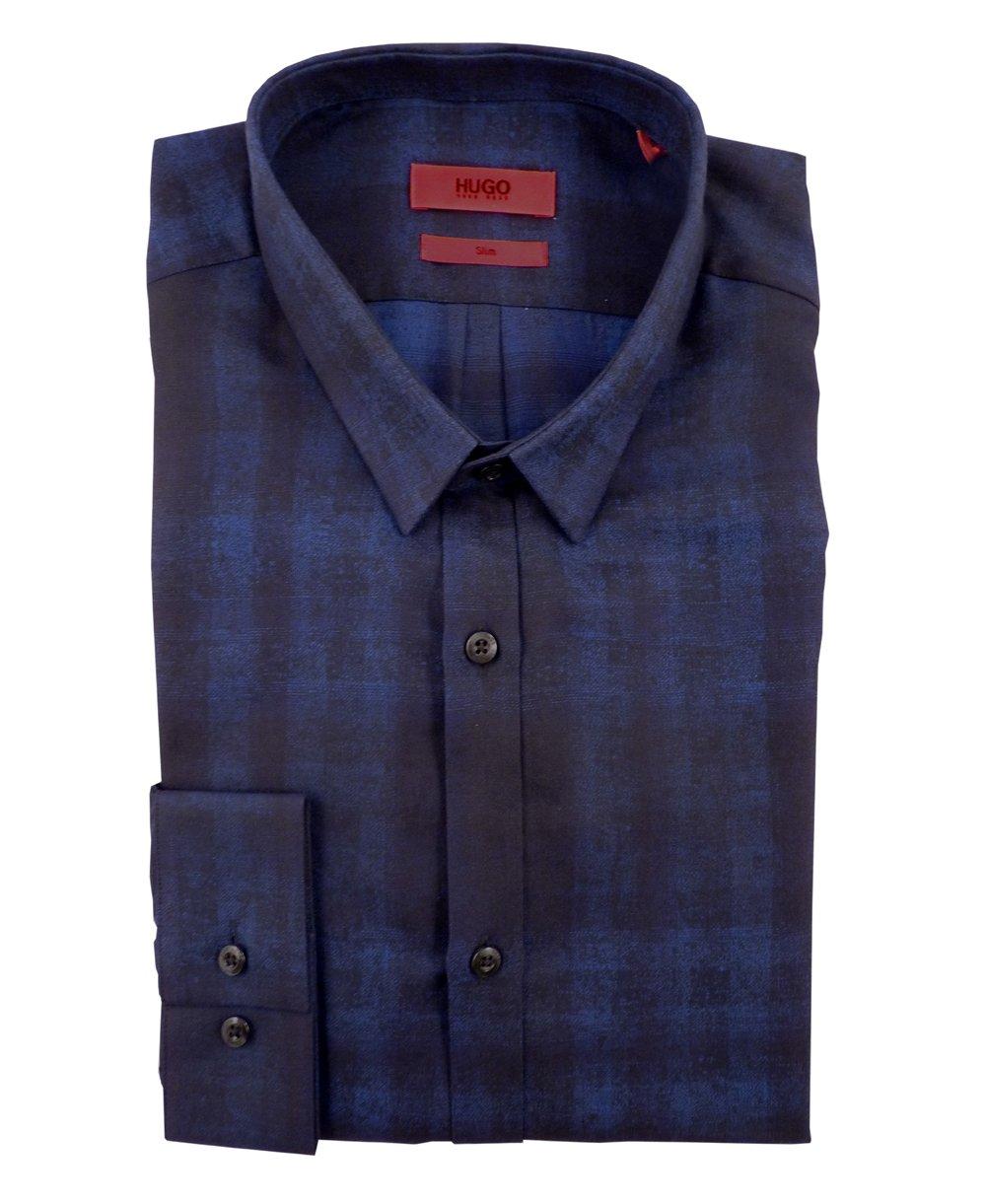 Hugo boss navy 50297064 ero3 blue check shirt hugo boss for Hugo boss navy shirt