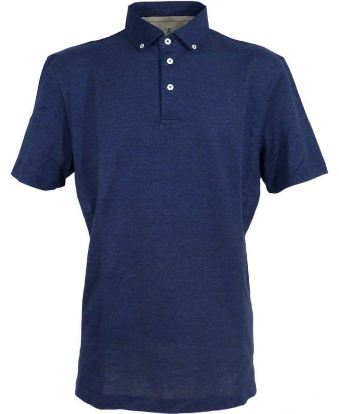 Hackett Navy 561244 Button Down Cotton/Silk Polo