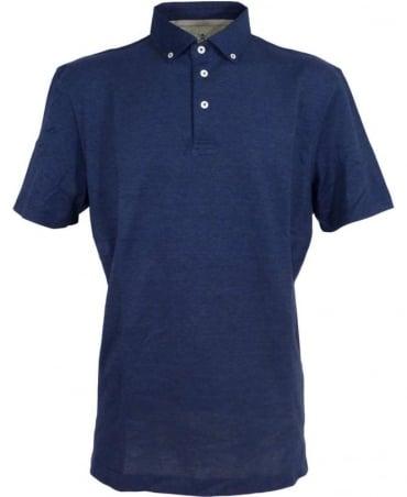 Hackett Navy 561244 Button Down Cotton/Silk Polo