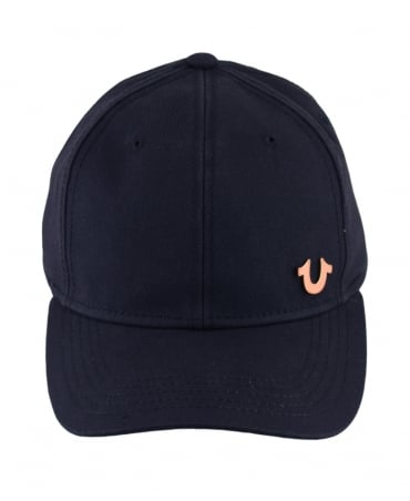 True Religion Navy Adjustable Rose Gold Logo Cap