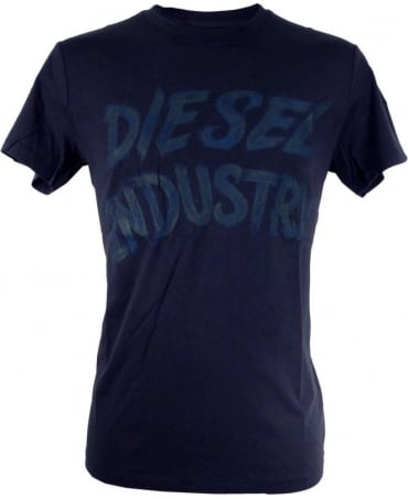 Diesel Navy Aethalas Large Lettering Print Crew Neck T-shirt