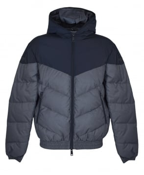 Armani Jeans Navy And Grey Contrasting Padded Jacket