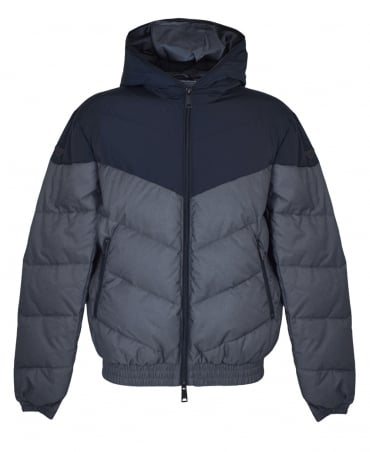 Navy And Grey Contrasting Padded Jacket