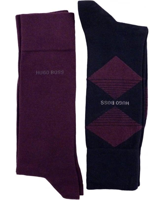Hugo Boss Navy And Purple 50299897 Two Pack Socks