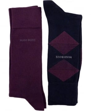 Hugo Boss Navy And Purple 50299897 Two Pack Socks