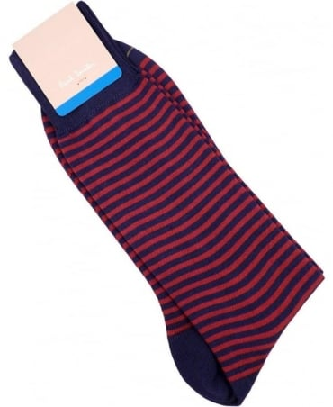Paul Smith - Accessories Navy And Red Two Stripe ANXA-800E-F910 Sock