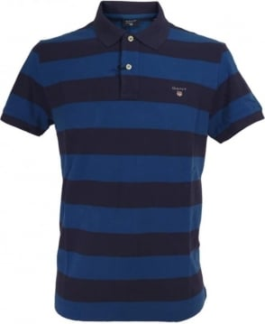 Gant Navy And Royal Blue Barstripe Pique Polo