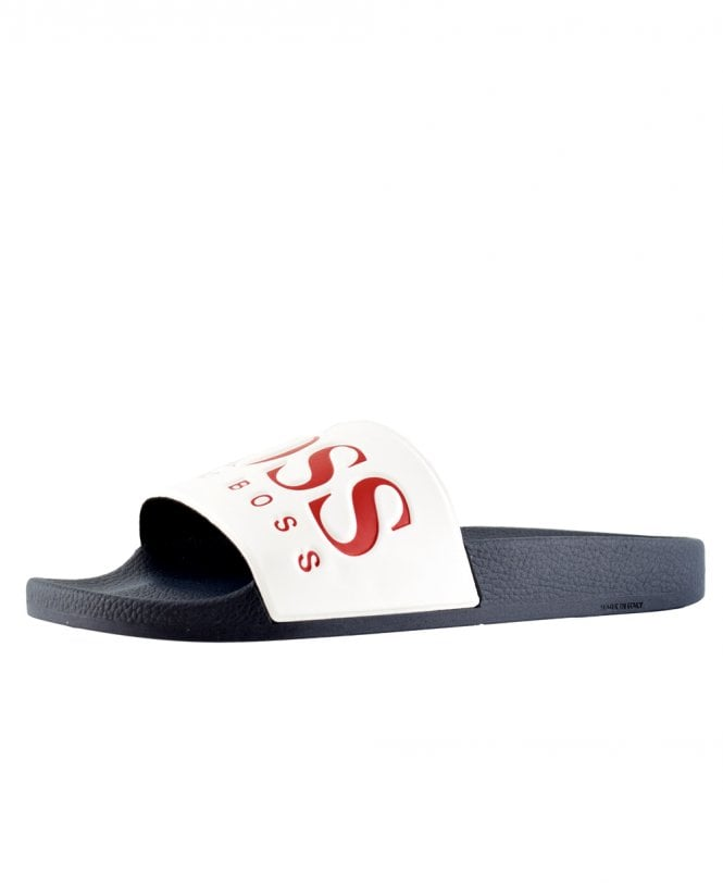 b82abc009 Navy And White Rubber Slider Sandals With Contrast Logo