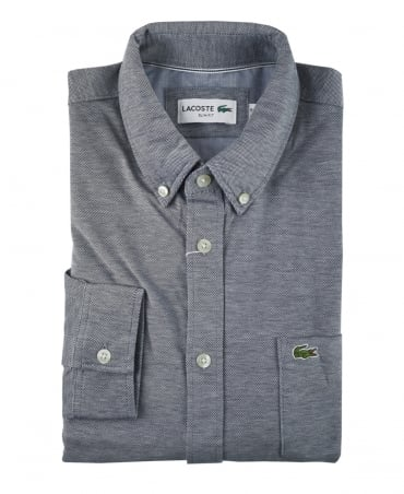 Lacoste Navy And White Slim Fit Jersey Shirt