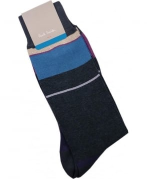 Paul Smith - Accessories Navy ANXA-800E-F981 Panel Sock