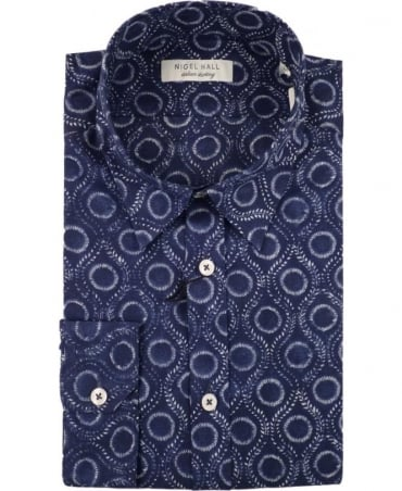 Nigel Hall Navy Art Circular Pattern Regular Fit Shirt