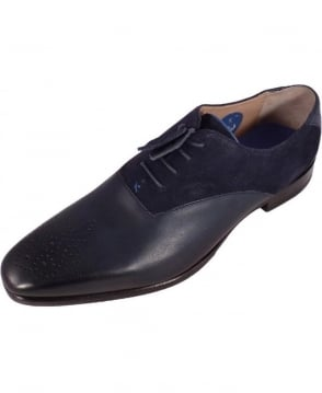 Oliver Sweeney Navy Belair Leather & Suede Oxford Shoe