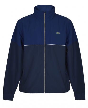 Navy Blue Contrasting BH2331 Hooded Zippered Jacket