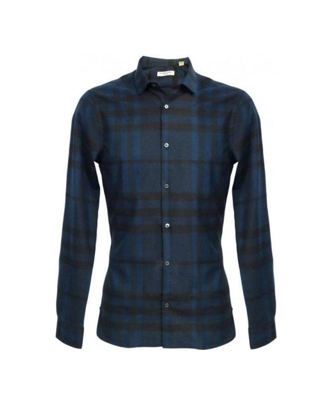Burberry navy blue pulbury slim fit flannel shirt shirts for Navy blue and red flannel shirt