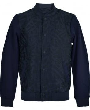 Scotch & Soda Navy Botanical Pattern Combined Bomber Jacket
