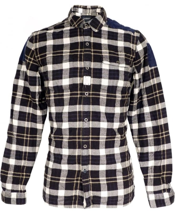 Scotch & Soda Navy Check 125049 Two Chest Pocket Shirt