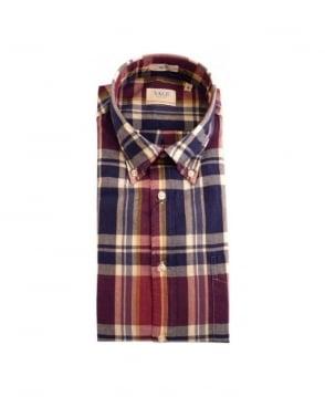 Gant Navy Check Yale Handloom Madras Shirt