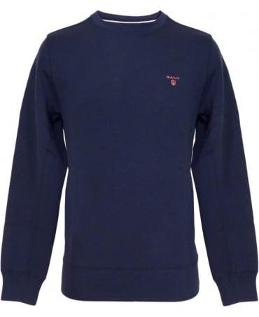 Gant Navy Contrast Logo Crew Neck Sweatshirt