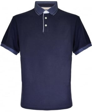 Hackett Navy Contrasting Collar Polo Shirt
