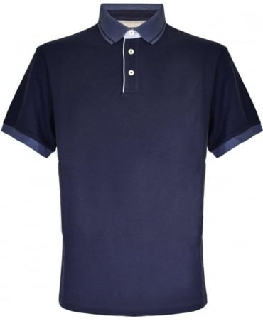 Navy Contrasting Collar Polo Shirt