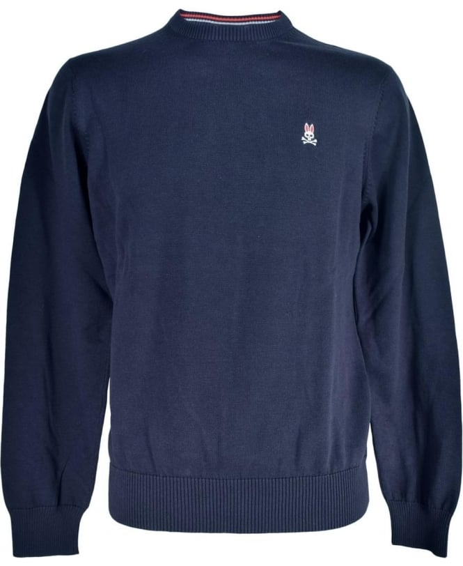 Psycho Bunny Navy Cotton Crew Neck Sweater