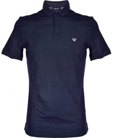 Armani Jeans Navy Cotton Denim Blend Polo Shirt