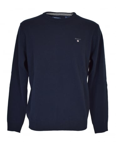 Gant Navy Crew Neck Lambswool Sweater