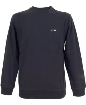 Armani Navy Crew Neck Sweatshirt With Logo