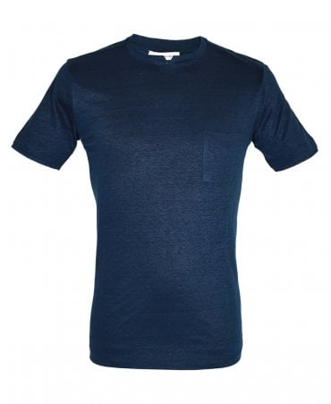 Navy Crew Neck T-Shirt With Detailing