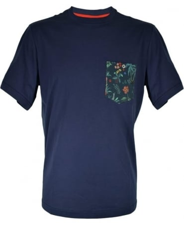 PS by Paul Smith Navy Crew Neck T-Shirt With Floral Pocket