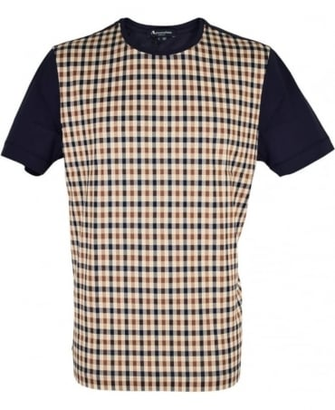 Aquascutum Navy Crew Neck Thornton Club Check T-Shirt