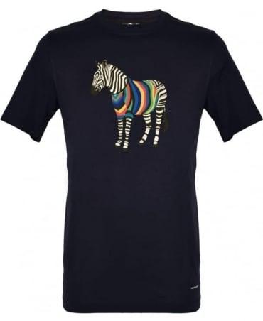 PS By Paul Smith Navy Crew Neck Zebra Print T-Shirt