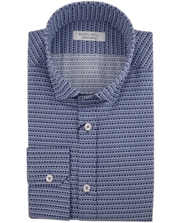 Nigel Hall Navy Delight Geometric Patterned Shirt