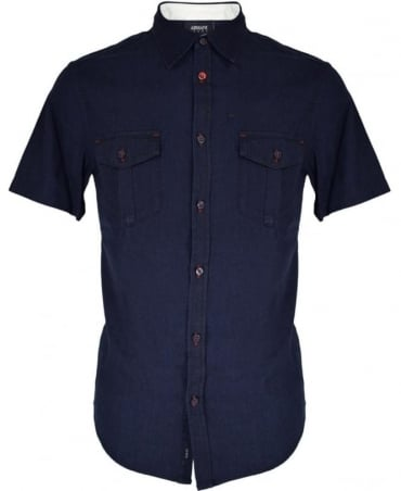 Armani Jeans Navy Denim 3Y6C30 Short Sleeve Shirt