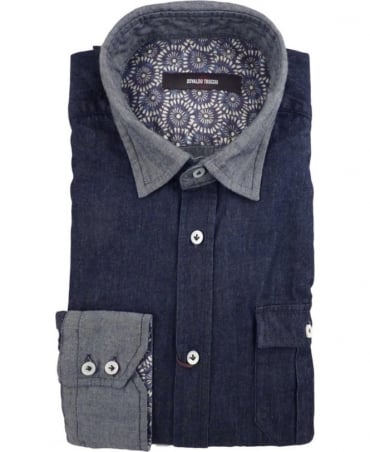 Osvaldo Trucchi Navy Denim Bulldog Grey Collar Cuff Shirt