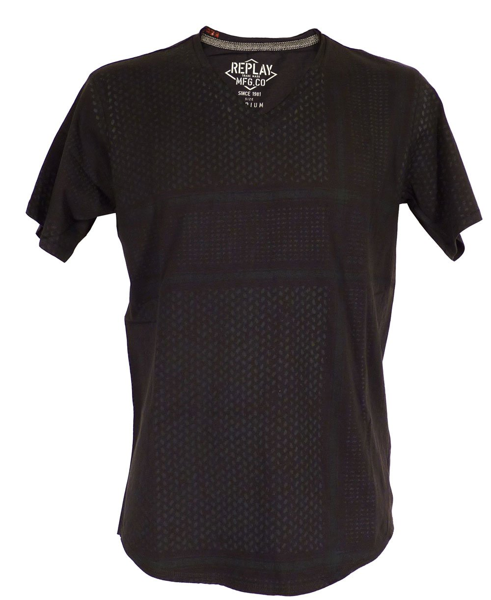 Replay Navy Design V Neck T Shirt Replay From Jonathan