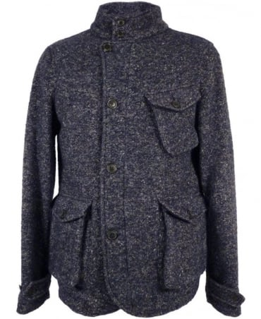 Baracuta Navy Donegal Curly Tweed Jacket