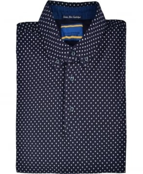 Scotch & Soda Navy Dot Pattern Polo Shirt