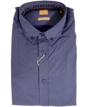Hugo Boss Navy EdipoE Circle Print Shirt