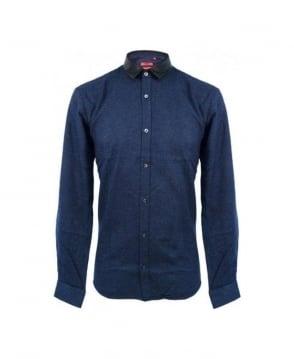 Hugo Navy Ero Leather Collar Shirt