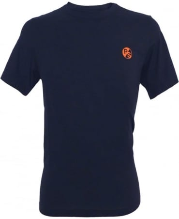 PS by Paul Smith Navy Flocked PS Logo Crew Neck T-shirt