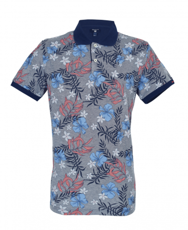 Navy Floral Pattern Polo Shirt
