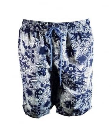 Paul Smith - PS Navy Floral Print Long Classic Swim Short