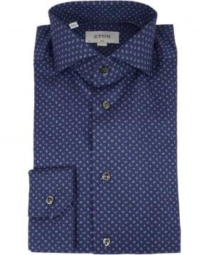 Eton Shirts Navy Floral Print Shirt