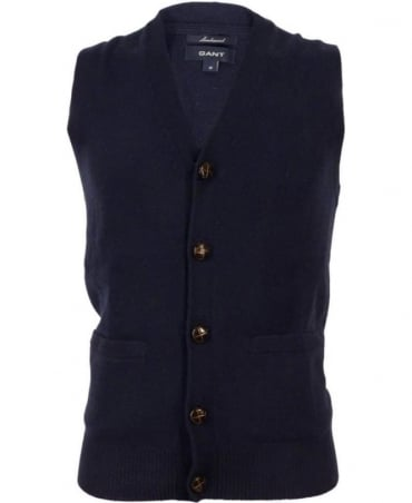Gant Navy Football Button Classic Vest