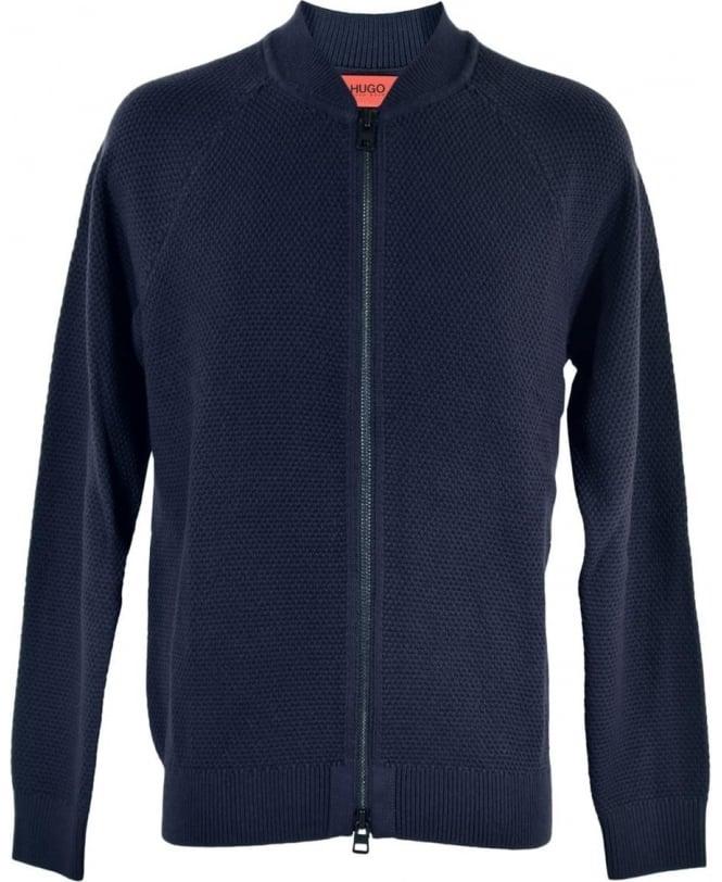 Hugo Navy Full Zip 'Saio' Knitwear